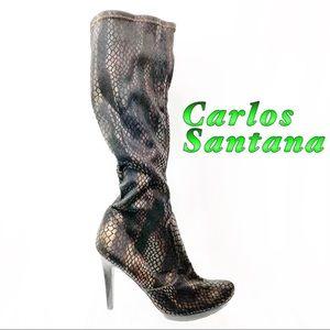 Carlos-Black & Bronze Fabric Knee Hi Heel boot 9